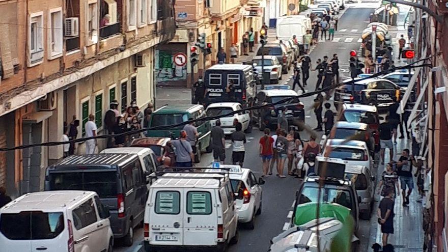 Imatge d'arxiu del desplegament policial als Orriols durant una baralla