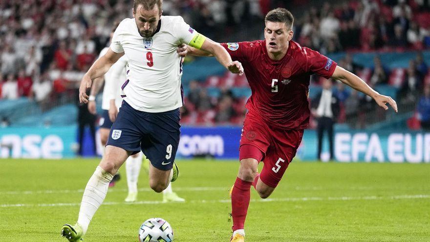 Harry Kane, durant el partit de semfinals de l'Eurocopa contra Dinamarca