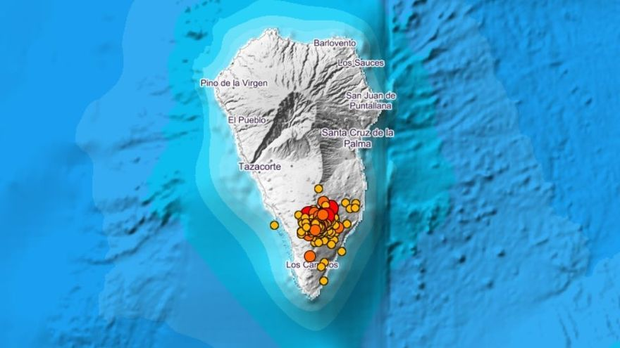 Localització dels terratrémols dels últims tres dies a l'illa de La Palma