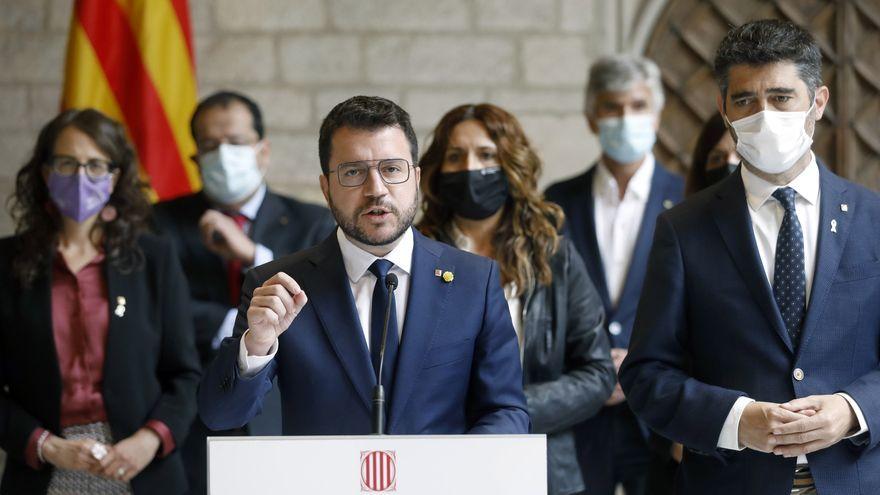 Pere Aragonés compareix després de la reunió d'urgència convocada a causa de la detenció de Puigdemont