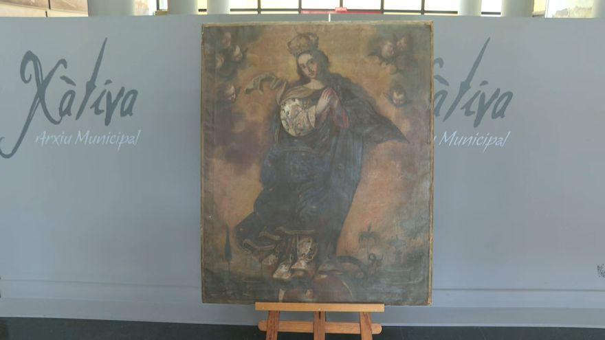 Quadre del pintor local Basilio Yago que podra veure's, d'ací a uns dies, a l'arxiu municipal de Xàtiva