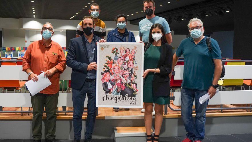 Els membres del jurat amb el cartell guanyador per a la Magdalena 2022