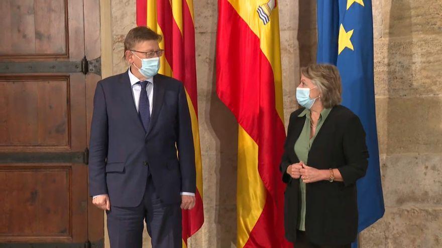 El president de la Generalitat, Ximo Puig, amb la comissària europea Elisa Ferreira