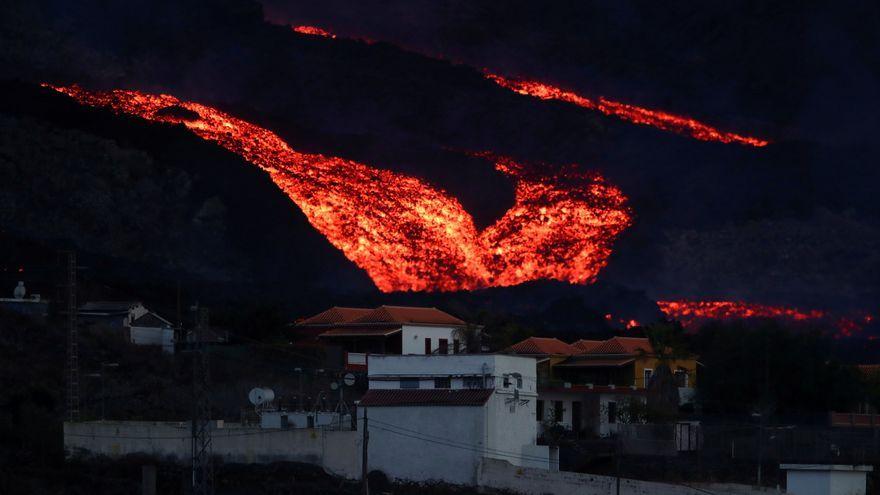 Llengües de lava al volcà de La Palma