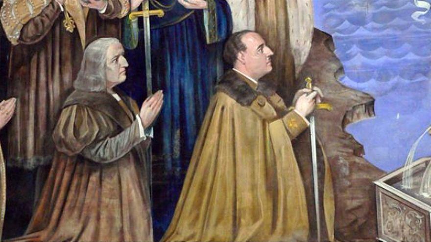 Detall d'un beat amb el rostre de Francisco Franco a l'altar major de l'església del Carme de València