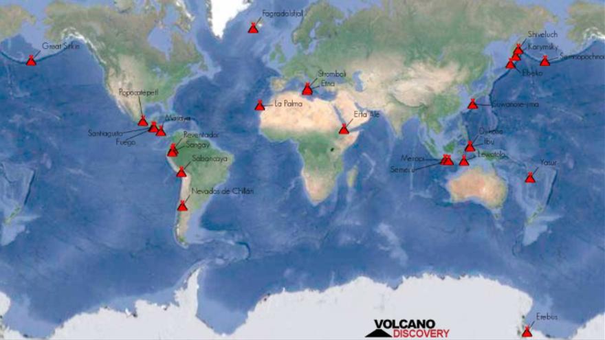 Volcans actualment actius (en erupció) en el món, segons el web volcanodiscovery.com