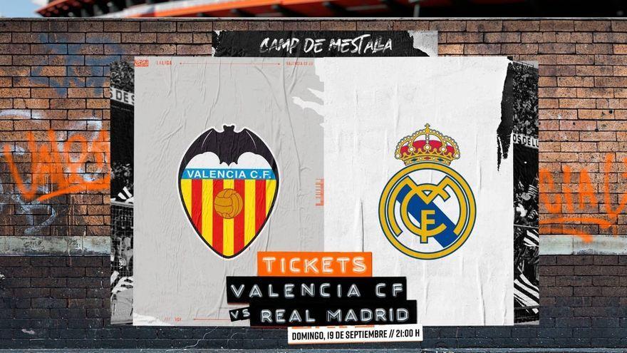 Cartell promocionant la venda d'entrades per al València-Reial Madrid del pròxim diumenge