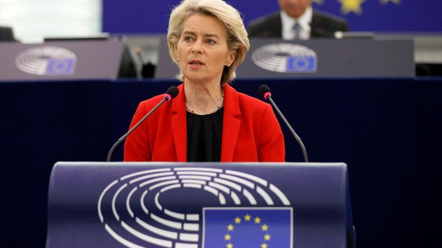 Ursula von der Leyen durant la sessió del Parlament Europeu a Estrasburg, França, aquest dimarts