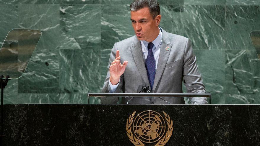 El president del govern espanyol, Pedro Sánchez en l'Assemblea de les Nacions Unides