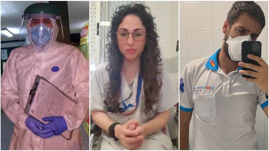 Els sanitaris Alejandro Cano, María Ramírez i Jorge Prieto