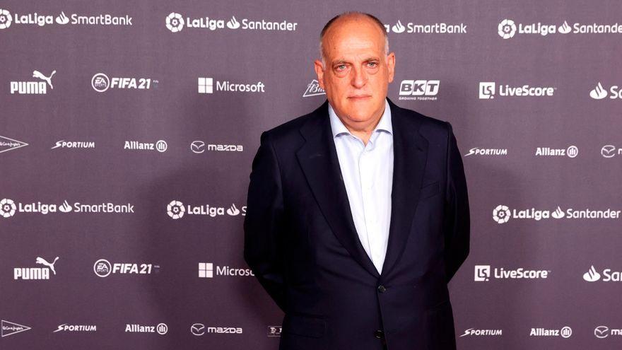 El president de la Lliga, Javier Tebas, durant la gala de campions de la competició