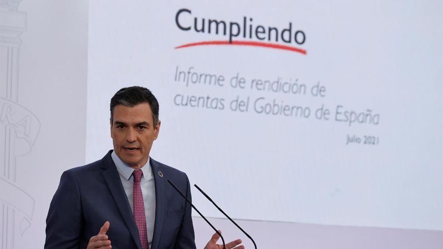 El president del govern espanyol, Pedro Sánchez, durant la roda de premsa d'aquest dijous per a fer balanç abans de l'estiu