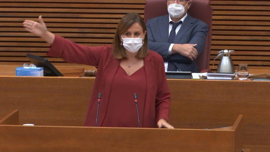 La síndica del PPCV, María José Catalá, aquest dilluns en el debat de política general
