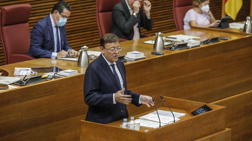 El president de la Generalitat, Ximo Puig, durant la seua intervenció en les Corts valencianes en el debat sobre l'estat de la comunitat, el 21 de setembre de 2020
