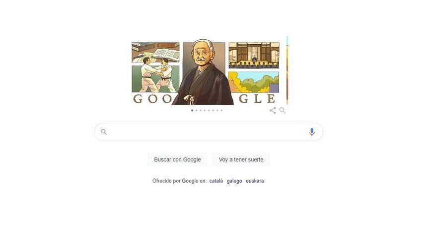 Imatge principal del Doodle de Google d'aquest dijous amb una il·lustració de Jigoro Kano