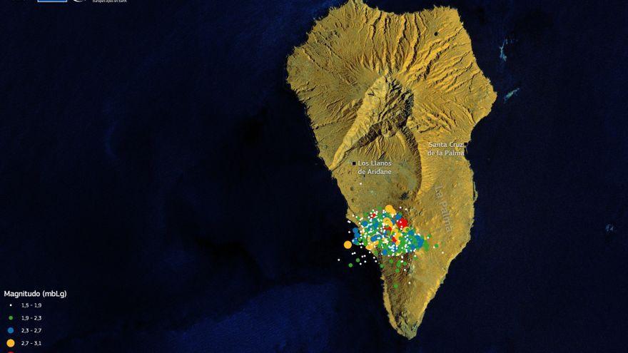 Epicentres dels sismes detectats en l'entorn del volcà Cumbre Vieja