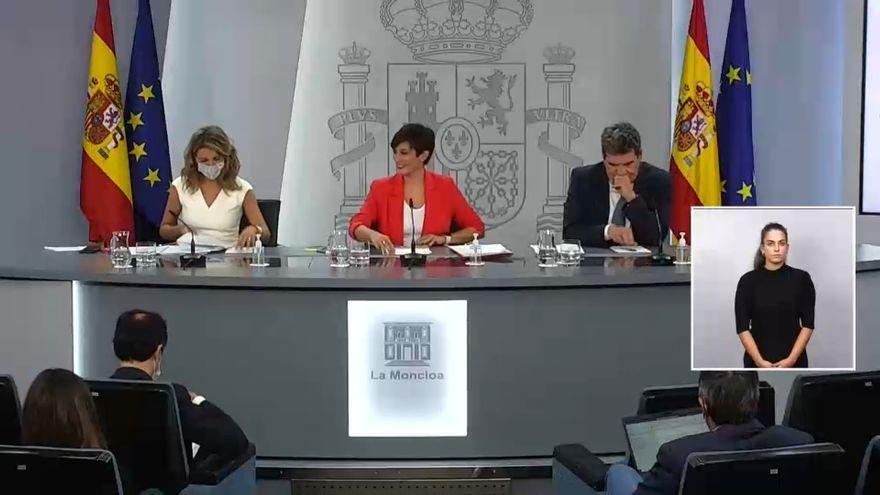 Un moment de la roda de premsa del Consell de Ministres
