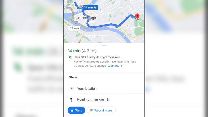Imatge d'una cerca en què Google Maps recomana la ruta amb menys consum per davant de la més ràpida