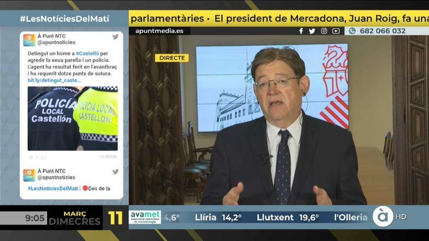El president de la Generalitat, Ximo Puig, durant l'entrevista a 'Les notícies del matí'