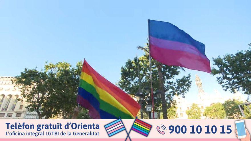 Concentració a València en rebuig a les agressions LGTBI-fòbiques al juny de 2021