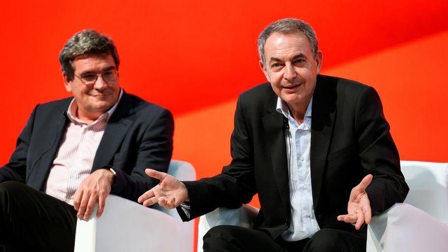 L'expresident José Luis Rodríguez Zapatero i el ministre d'Inclusió, Seguretat Social i Migracions, José Luis Escrivá