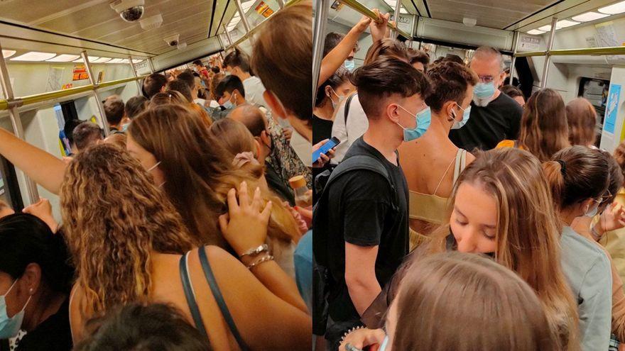 Imatges de les aglomeracions dins d'un vagó de Metrovalència