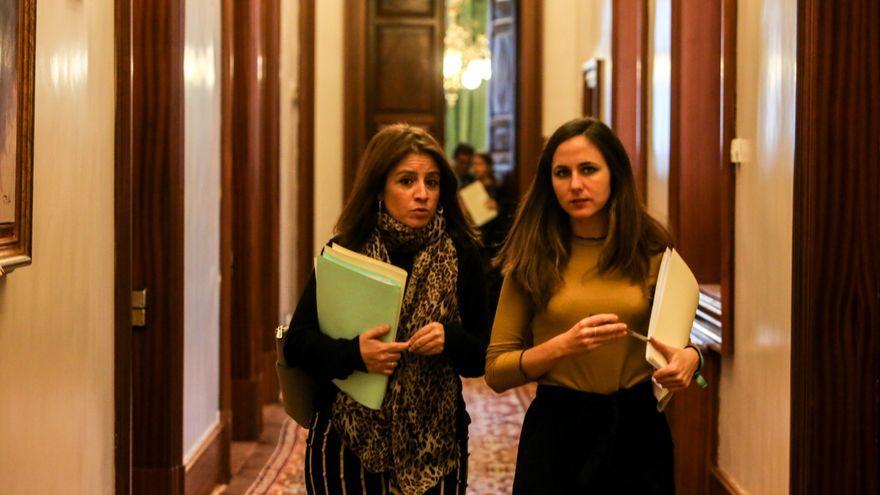 La portaveu del grup socialista, Adriana Lastra, i la d'Unides  Podem, Ione Belarra