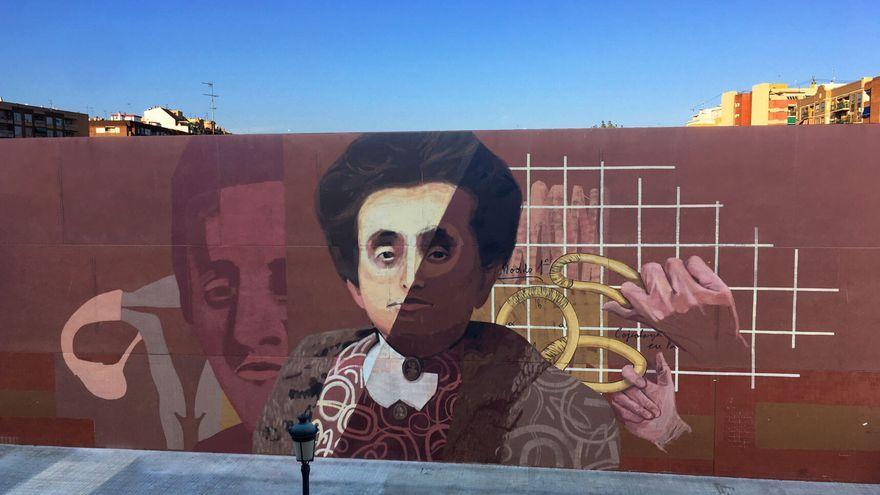 Mural de Concepció Aleixandre Ballester creat per Virginia Bersabé al CEIP Rodríguez Fornós de València, part del projecte Dones de Ciència de la Universitat Politècnica de València i Las Naves