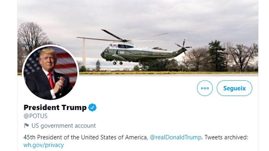 Captura del compte presidencial estatunidenc a Twitter.
