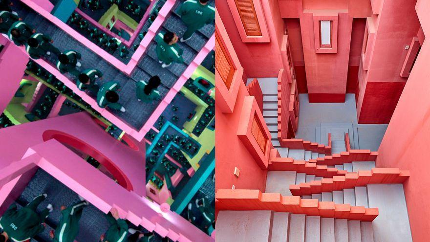 Un 'frame' d''El juego del calamar' i una imatge de la Muralla Roja de Calp per dins