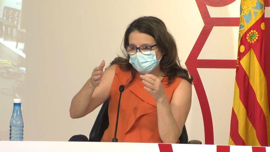 La vicepresidenta Mónica Oltra en un moment de la intervenció