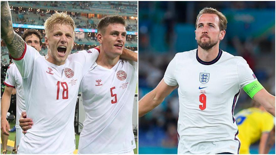 Jugadors de Dinamarca (esquerra) i l'anglés Kane (dreta) celebren el pas a semifinals
