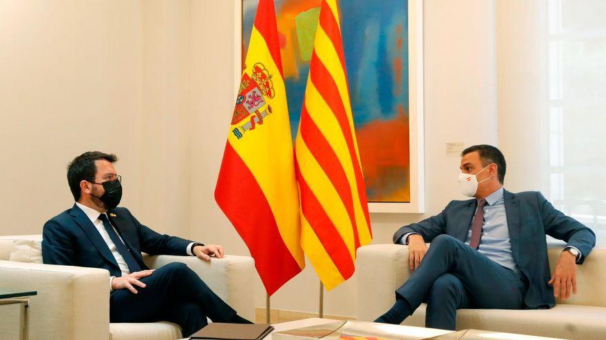 Imatge d'arxiu d'una reunió entre Pedro Sánchez i Pere Aragonès a la Moncloa